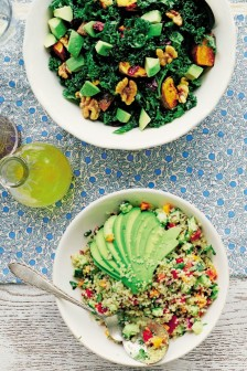 Kale salad with maple-roasted walnuts, cranberries and citrus-sesame dressing and Lemon quinoa tabbouleh with carrot, red pepper and avocado