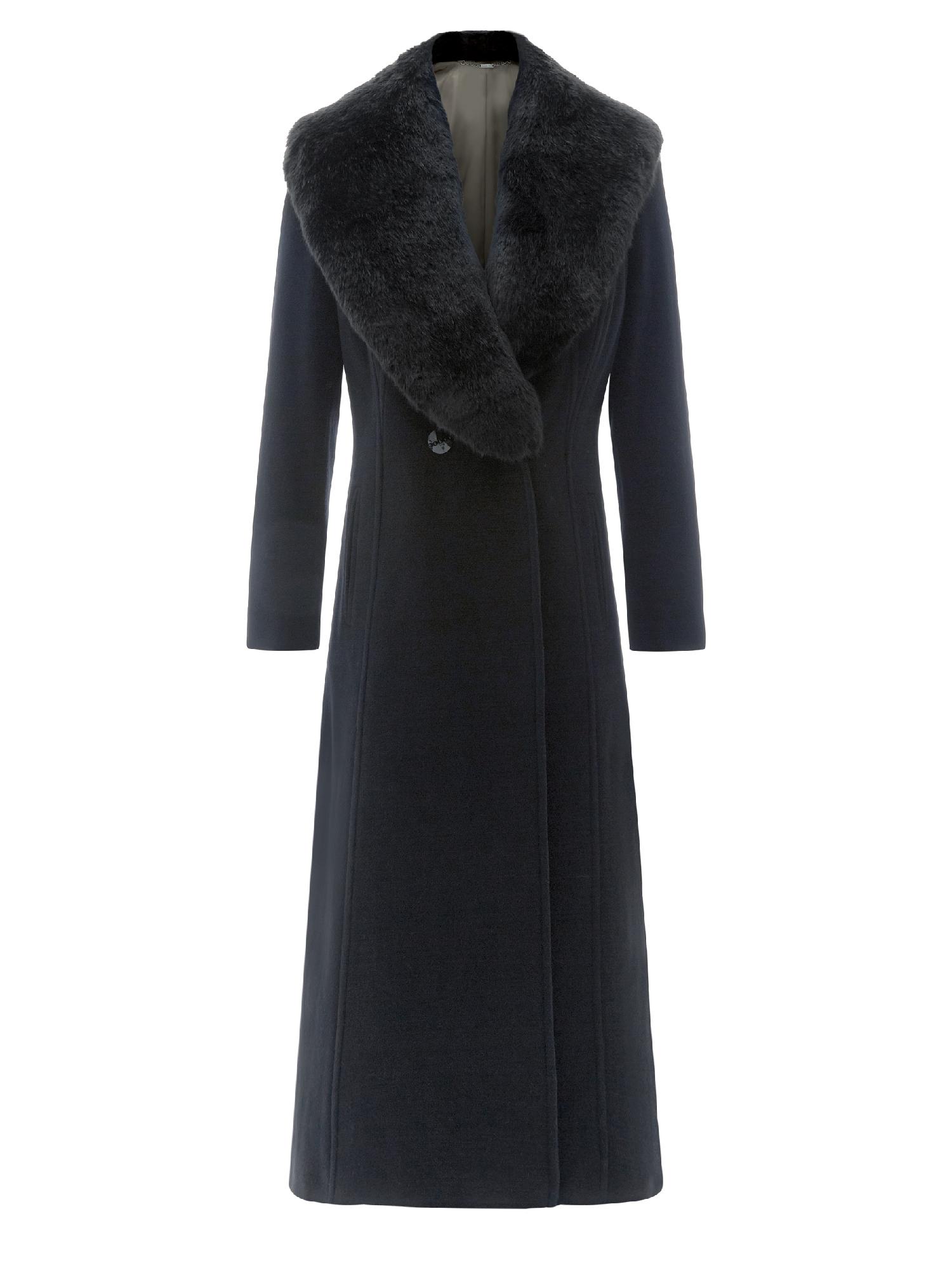 Black Long Coat With Fur Collar